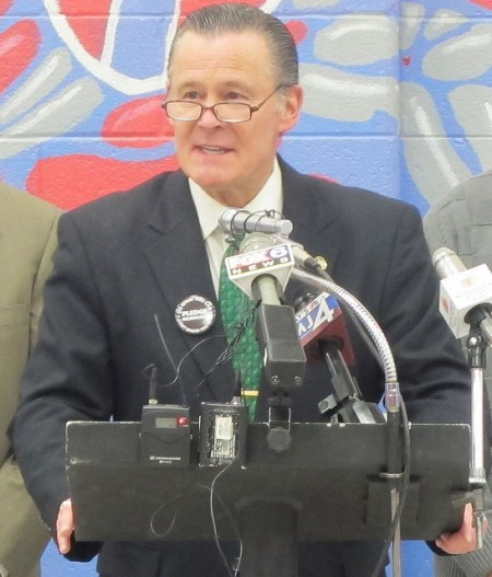"""Alderman Bob Donovan said the """"I Pledge Milwaukee"""" campaign recognizes that the power of the city lies in its people. (Photo by Edgar Mendez)"""