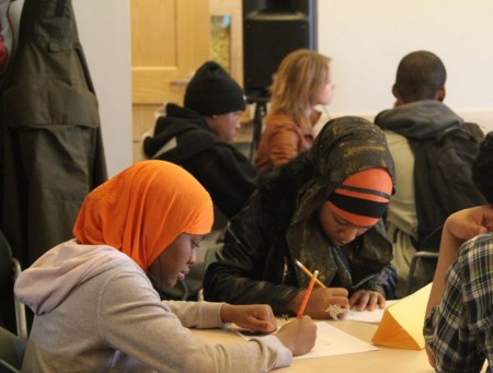 Students of different races and backgrounds came together recently to discuss peace and community building. (Photo courtesy of Arno Michaelis, Serve 2 Unite)