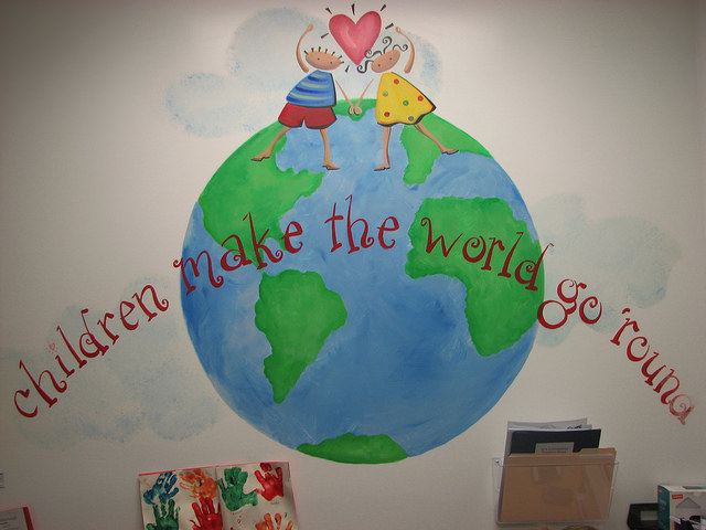 A mural painted in Center Director Carrie O'Connor's office communicates Acelero's children-first message. (Photo by Patrick Leary)
