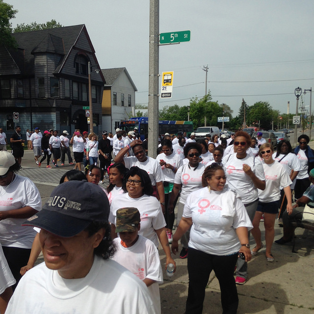 The walk began at the Milwaukee Urban League and finished at the Wisconsin Black Historical Society and Museum. (Photo by Hannah Byron)