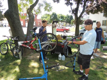 Gabriel Manzanet has enjoyed learning how to repair different kinds of bicycles. (Photo by Layton Boulevard West Neighbors)