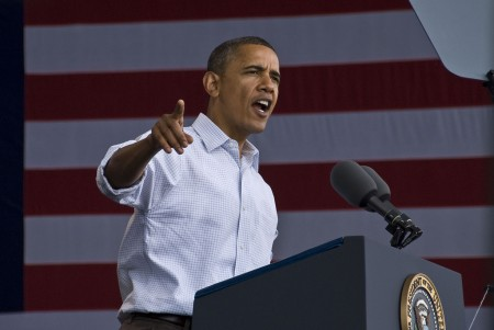 President Obama addresses the crowd on Labor Day, 2010. (Photo courtesy of Wisconsin AFL-CIO)