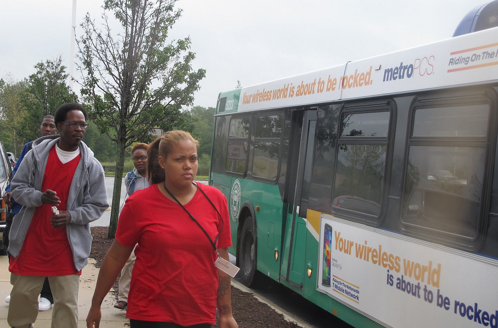 Hopeful job applicants get off the bus at BuySeasons on South Moorland Road in New Berlin, at the end of the new MCTS Route 6. (Photo by Andrea Waxman)