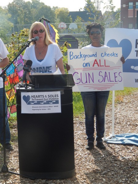 Jeri Bonavia, executive director of Wisconsin's Anti-Violence Effort, emphasized the need for a law requiring background checks on all gun sales in Wisconsin. (Photo by Caroline Roers)