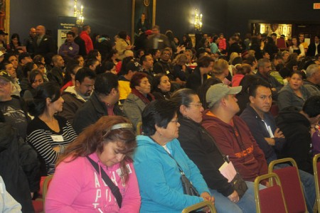 An overflow crowd of more than 500 South Side residents packed American Serb Hall, 5101 W. Oklahoma Ave., to hear the legislators respond to their concerns. (Photo by Edgar Mendez)