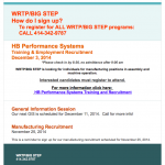 WRTP/Big Step recruiting for HB Performance Systems manufacturing positions