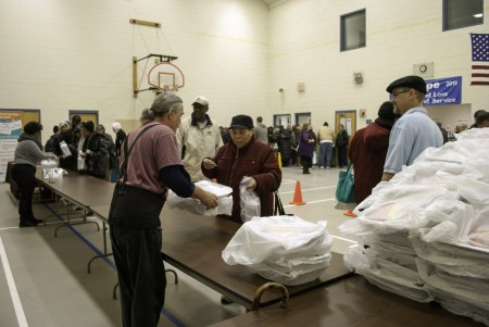 Agape Community Center distributed about 400 turkeys the Monday before Thanksgiving. (Photo by Leah Schaffer, courtesy of Agape Community Center)