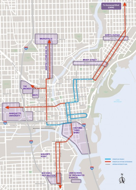 A map of the proposed initial downtown route and possible extensions. (Photo courtesy of www.milwaukeestreetcar.com)