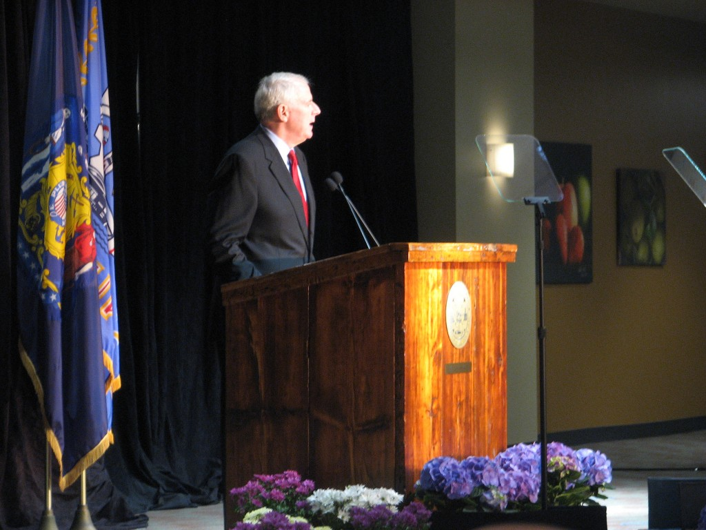 Mayor Tom Barrett gives his state of the city speech in front of a packed house at Alverno College. (Photo by Brendan O'Brien)
