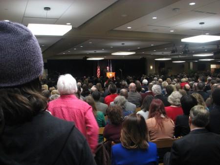 Onlookers listen to Mayor Barrett's presentation. (Photo by Brendan O'Brien)