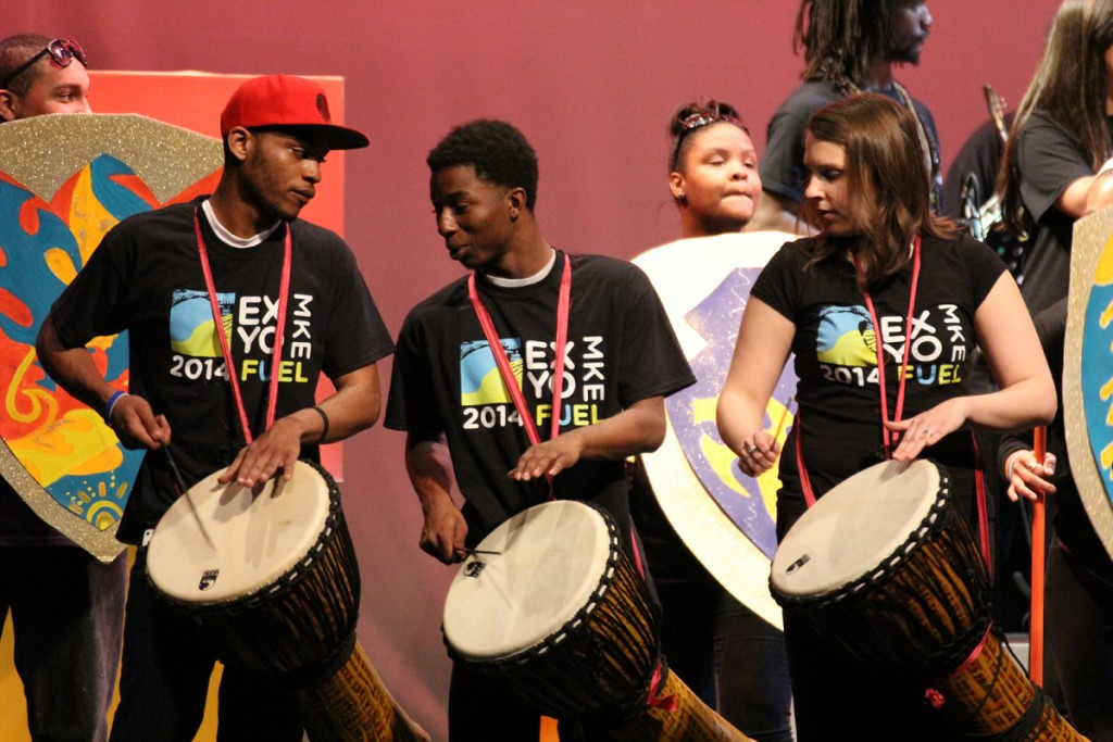 Drummers perform during Express Yourself Milwaukee's culminating performance in 2014. (Photo courtesy of Express Yourself Milwaukee)