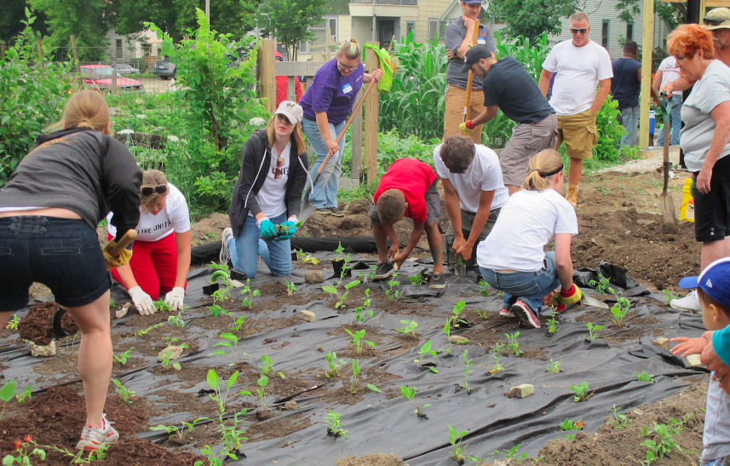 Volunteers plant seedlings at Cream City Gardens. (Photo by Patrick Leary)
