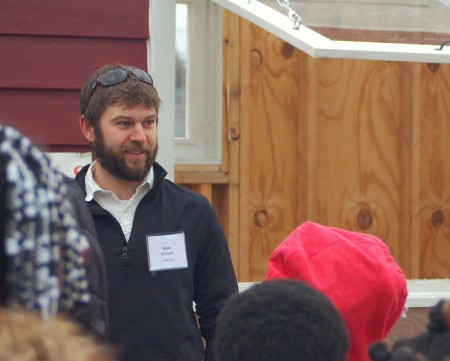 Sean Kiebzak, site coordinator for Arts @ Large, answers questions from students at Milwaukee Environmental Sciences charter school. (Photo by Molly Rippinger)
