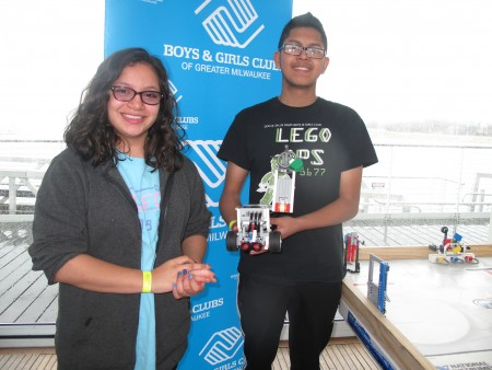 Valentina Estrada and Jose Favela were among the students from the Davis Boys & Girls Club who participated in National Robotics Week.
