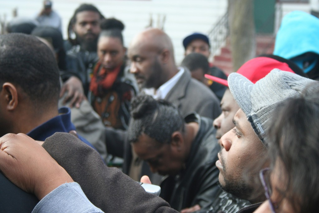Martha Freeman (center) and others come together at a press conference on March 20 in Garden Homes. (Photo by Jabril Faraj)