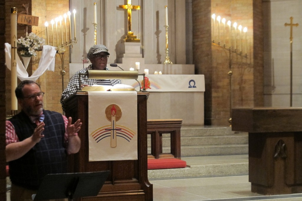 Sister Shawnee M. Daniels-Sykes shares a reflection on racism and economic inequality at Greater Together's Open Prayer event. (Photo by Wyatt Massey)