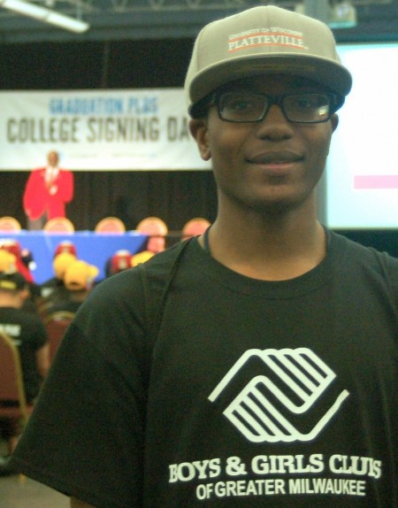 Jesse Jones Jr., recipient of the Marquel Pollard scholarship, has been involved with the Boys & Girls Clubs of Greater Milwaukee for the past 13 years as a youth, a volunteer and an employee. (Photo by Molly Rippinger)