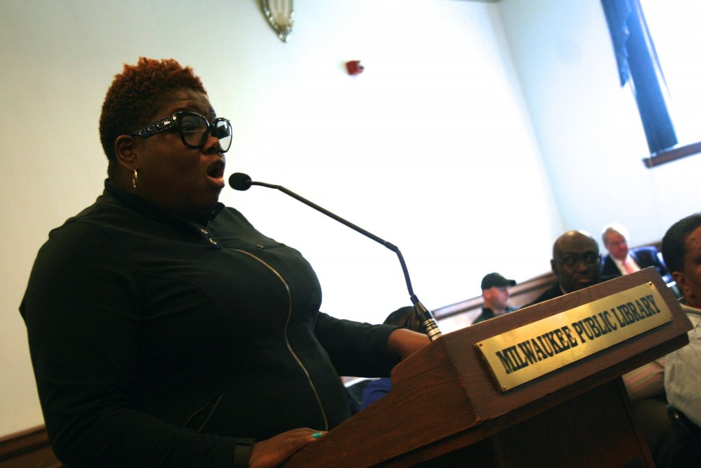 Abra Fortson testifies during Saturday's budget listening session. (Photo by Jabril Faraj)