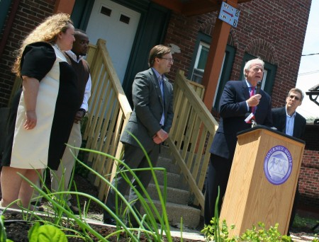 "Milwaukee Mayor Tom Barrett spoke at the Journey House Campus Housing Initiative grand opening, calling the program ""an amazing team effort."" (Photo by Jabril Faraj)"