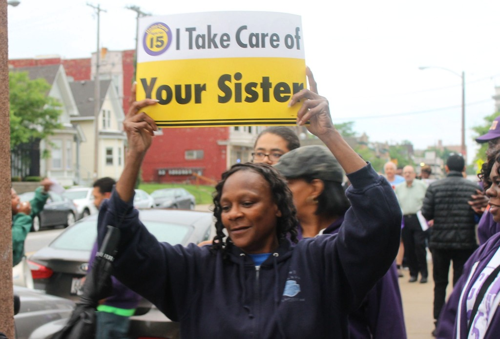 Milwaukee home care workers marched in front of the MCFI building demanding higher benefits and increased wages. (Photo by Madeline Kennedy)