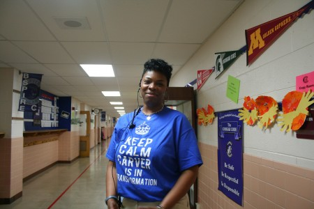 Janel Hawkins stands outside the office at Carver Academy, where she will be going into her fourth year as principal. (Photo by Jabril Faraj)