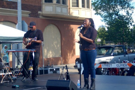 Artaska Aquino takes the stage to celebrate Bronzeville's rich musical history, which made it a regular stop for legendary jazz musicians such as Billie Holliday and Duke Ellington. (Photo by Allison Dikanovic)