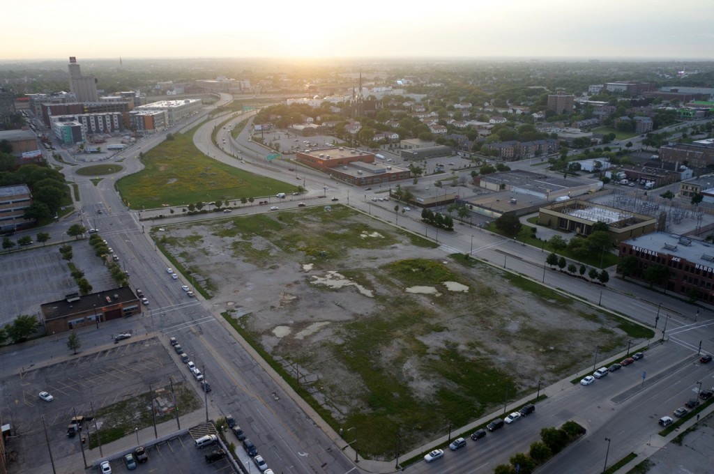 Looking down on the proposed site for the new stadium. (Photo by Adam Carr)