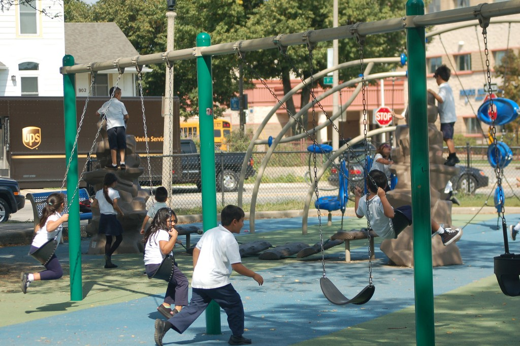 Bruce Guadalupe Community School students play at the park during recess. (Photo by Edgar Mendez)