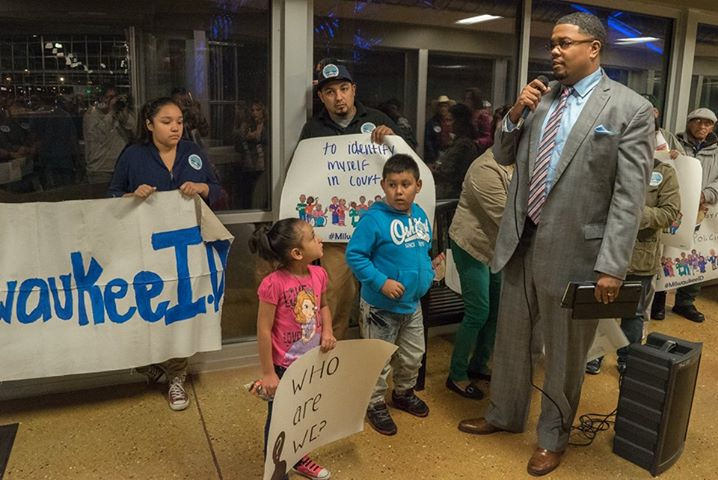 County Supervisor Khalif Rainey addresses supporters of the municipal ID at a recent rally at the Mitchell Park Domes. (Photo by Joe Brusky; courtesy of Milwaukee Teachers' Education Association)