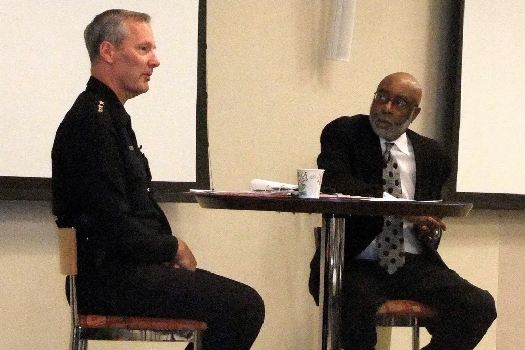 Chief Edward Flynn (left) of the Milwaukee Police Department answered questions from community leaders, moderated by Eric Von of WNOV 860. (Photo by Wyatt Massey)