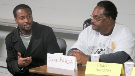 EXPO members Jafar Banda (left) and Charles Hampton shared their advocacy work during a panel discussion. (Photo by Wyatt Massey)