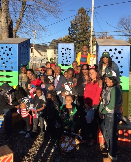 Zelodius Morton (third from right, in black) helped organize a Halloween party for neighborhood children in the garden lot at 9th and Burleigh streets. (Photo courtesy of Zelodius Morton)
