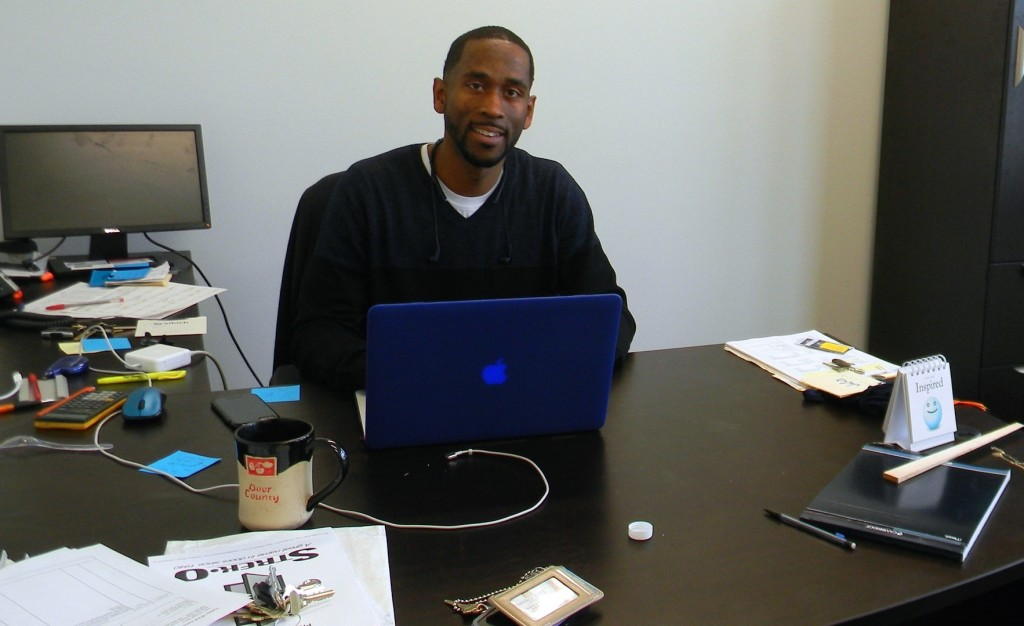 Jalin Phelps works in his new office. (Photo by Stephanie Harte)