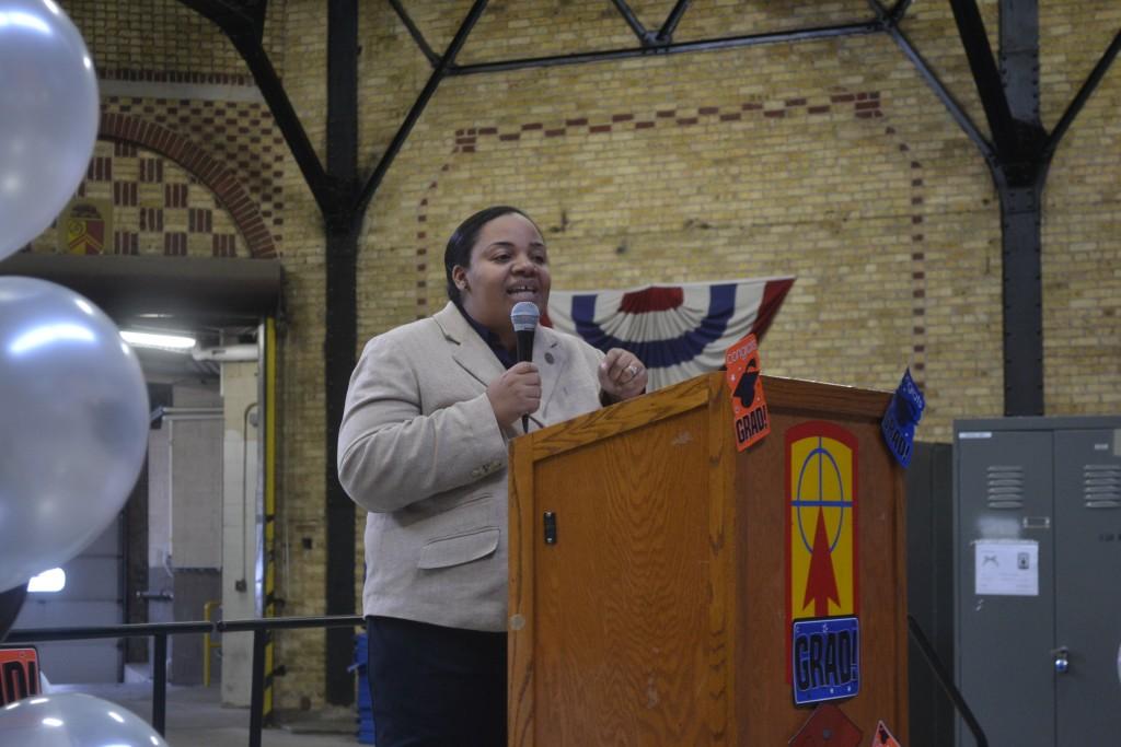 Alderwoman Milele Coggs was the graduation's keynote speaker. (Photo courtesy of SDC)