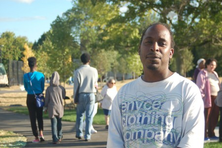 Tiarence Morgan, 38, said the revamped Moody Park is a point of pride for neighborhood residents. (Photo by Edgar Mendez)