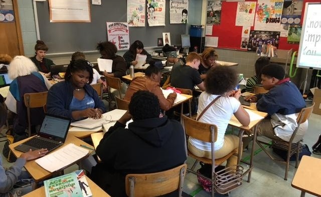 Mr. Berg's students at MPS' Milwaukee High School of the Arts. (Photo courtesy of Milwaukee Public Schools)
