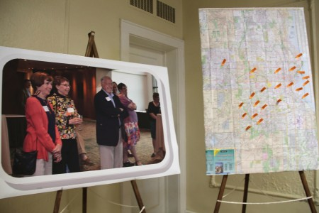 A map of Milwaukee highlights the location of nonprofits Dick Larsen has served. (Photo by Sophia Boyd)