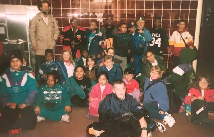Joshua Harwell (bottom left), and Lakeisha Bradford (bottom row, third from left) were among the inaugural group of Golda Meir students, pictured here in the Mitchell International Airport lobby, to travel to Denmark. (Photo provided by Lakeisha Bradford)