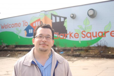 Jose Vasquez, 33, conducts street outreach for the Clarke Square Neighborhood Initiative. (Photo by Edgar Mendez)