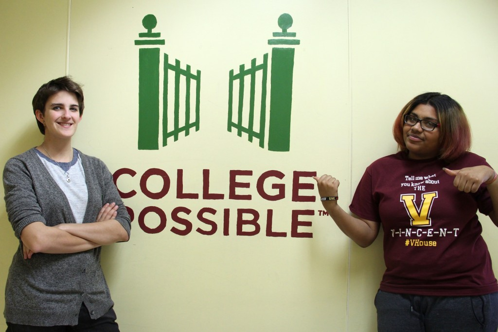 College Possible Coach Holly Wickham (left) helped Cymone Newton with college, financial aid and scholarship applications. (Photo by Sophia Boyd.)