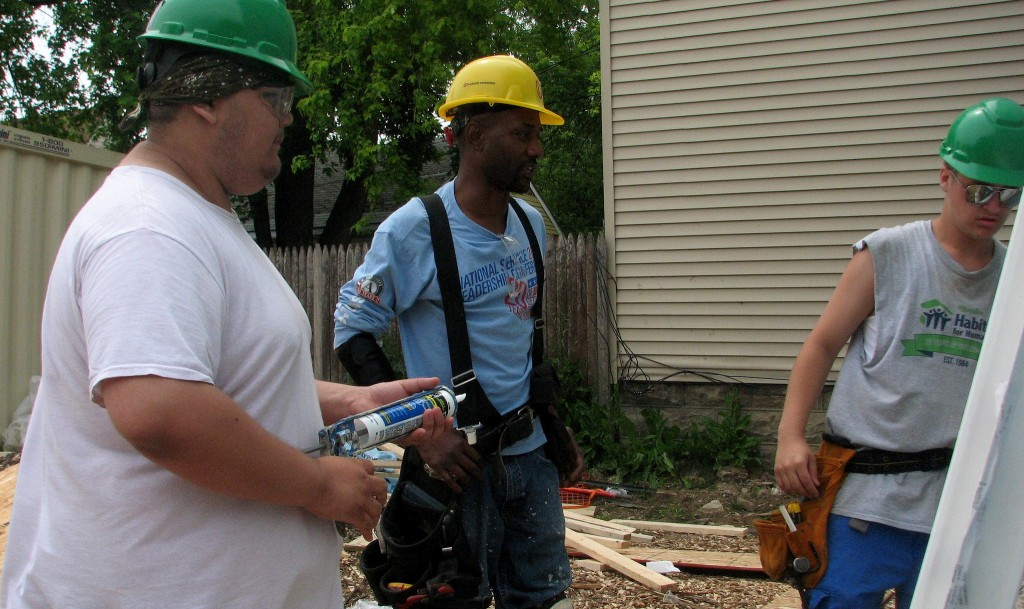 Participants in MATC's YouthBuild during a project in the Washington Park neighborhood in 2015 (Photo by Brendan O'Brien)