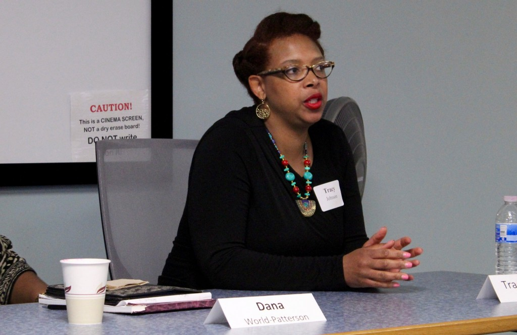 Tracy Johnson talks about her experience working as a leader in the state's human trafficking task force. (Photo by Morgan Hughes)