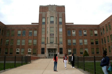 Students stand in front of Pulaski's main entrance. (Photo by Jabril Faraj)