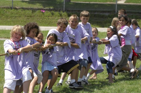 Wacky Olympics Caption: Children participate in the Wacky Olympics tug-of-war during a summer camp offered by the Milwaukee Recreation Department last summer. (Photo courtesy of Milwaukee Recreation Department)