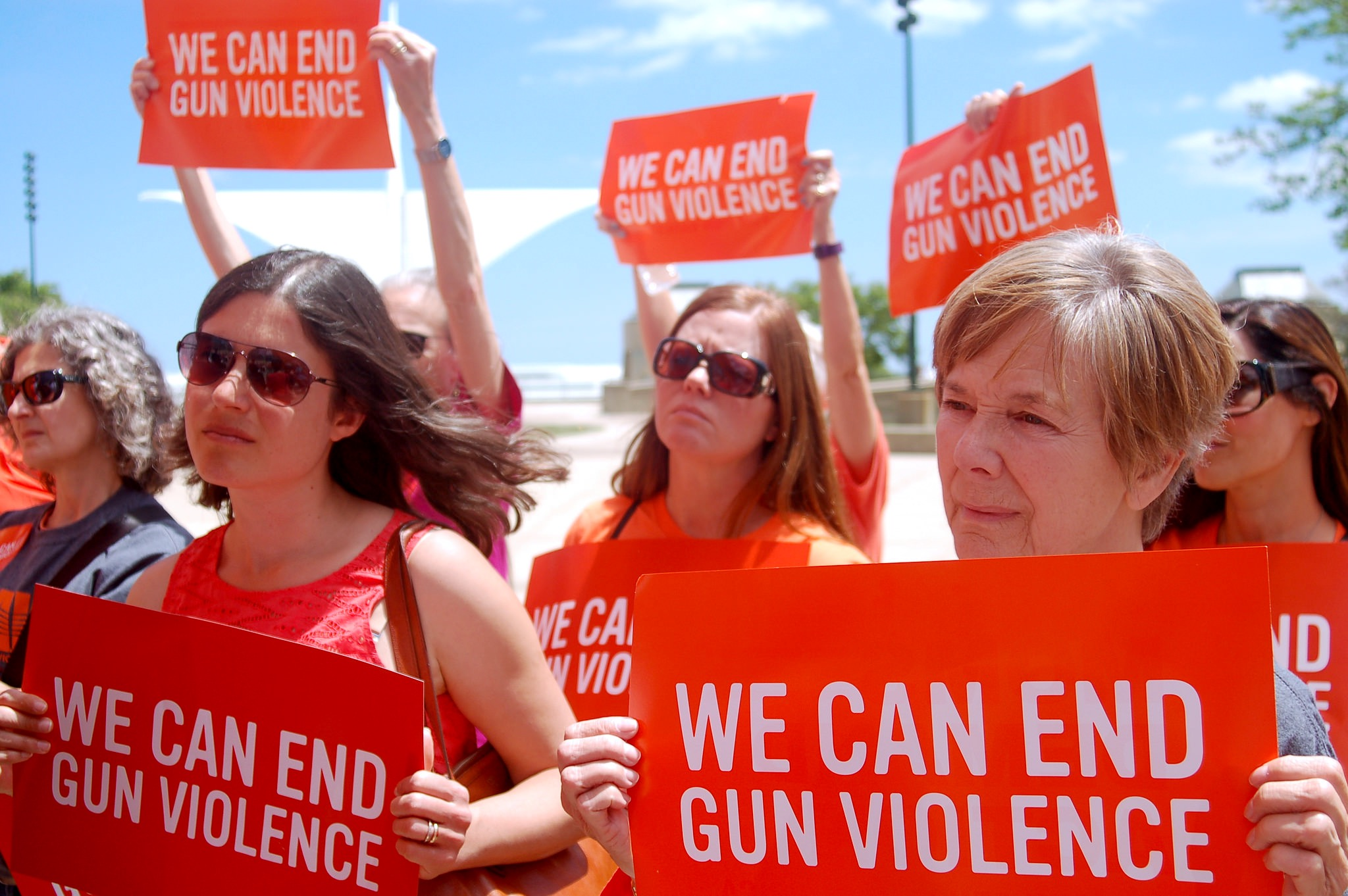 Dozens attend a National Gun Violence Awareness Day event in O'Donnell Park. (Photo by Brendan O'Brien)