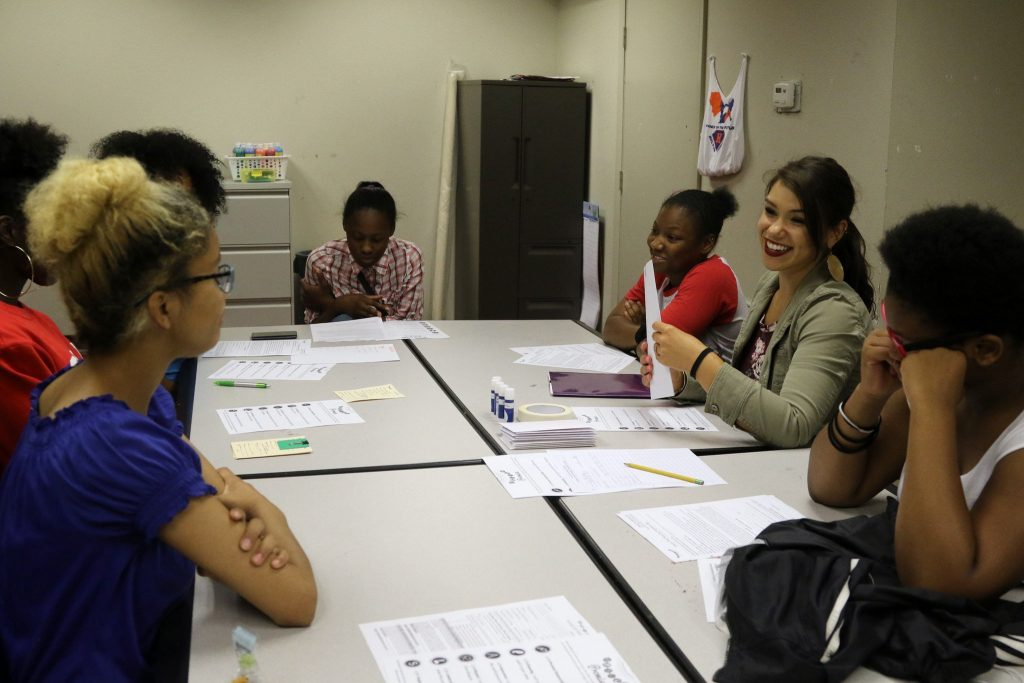 Pearls for Teen Girls held its summer meeting at Holton Youth and Family Center, led by one of the program coordinators, Melanie Amini-Hajibashi (right side, center). (Photo by Amelia Jones)