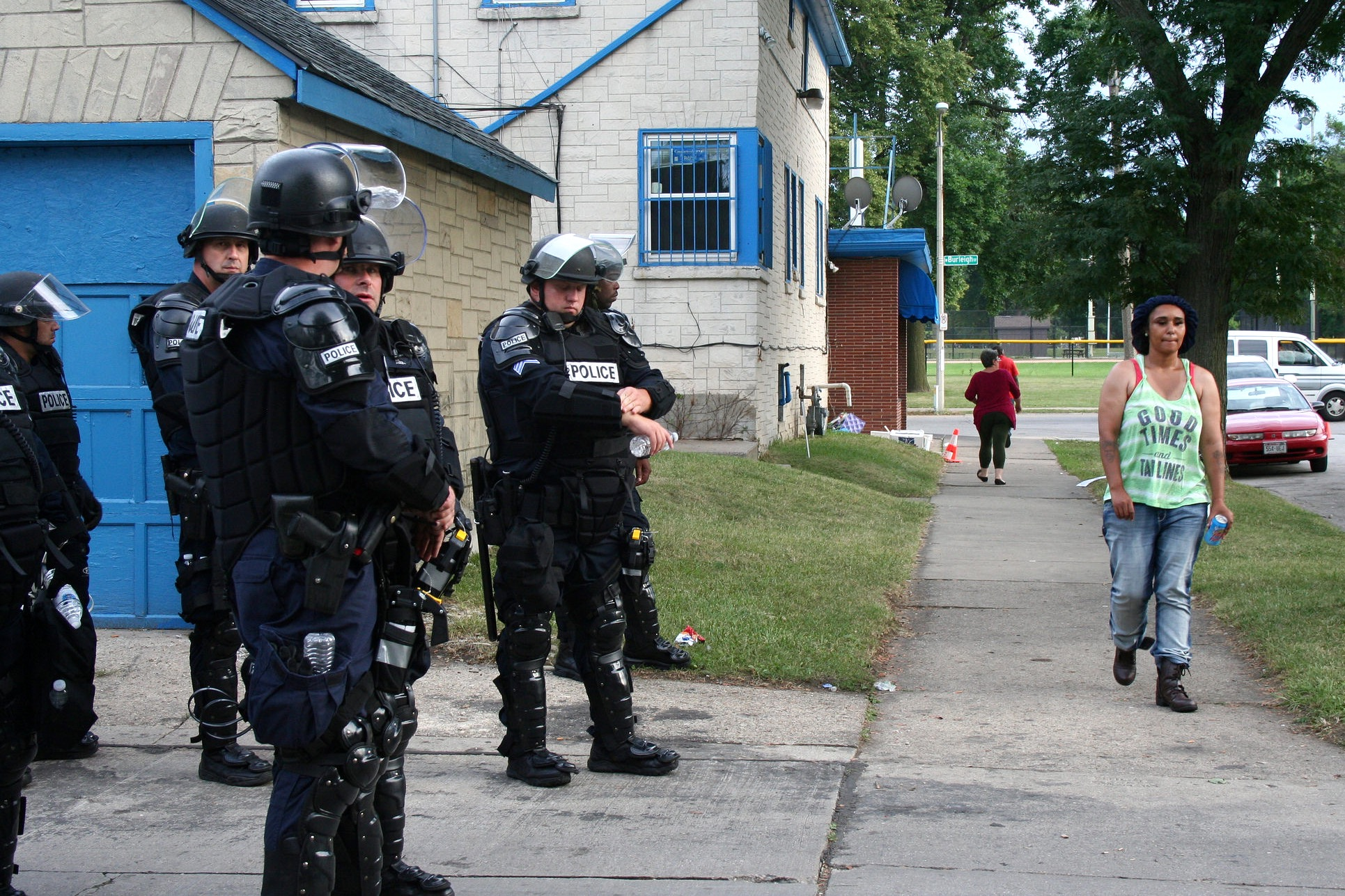 The National Guard was activated by Wisconsin Gov. Scott Walker, Milwaukee County Sheriffs closed Sherman Park and police were heavily armed and armored after two nights of violent demonstrations. (Photo by Jabril Faraj)