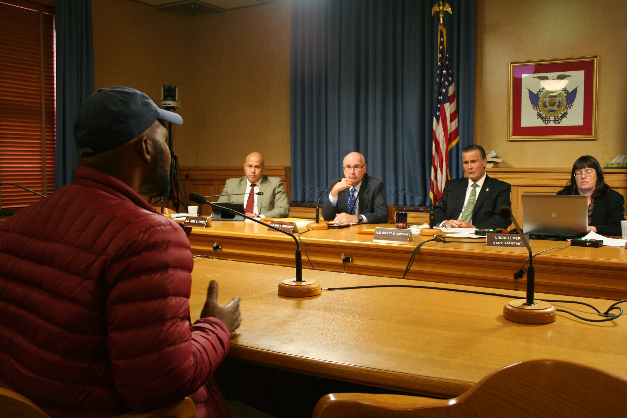 Jay Holmes, a Sherman Park resident, addresses the Public Safety Committee. (Photo by Jabril Faraj)