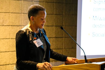 YWCA president and CEO Paula Penebaker addresses participants at the organization's Employer Summit. (Photo by Allison Steines)
