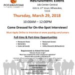 Upcoming: Onsite hospitality recruitment event at Potawatomi